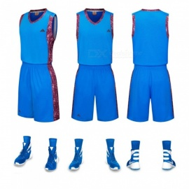 Basketball Sports Jerseys Shorts Set Sleeveless Vest Breathable Quick Dry Training Suit Blue/l