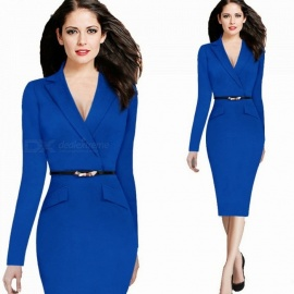 Autumn Long Sleeve Lapel Collar Knee-Length Formal Pencil Dress With Belt Decoration For Office Lady Blue/XXL