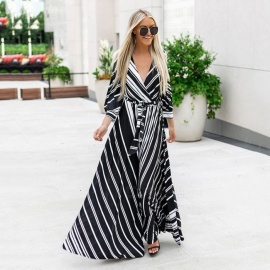Autumn New Bohemian Dress V-Neck Lantern Sleeve Hit Color Striped Print Maxi Dresses For Women Black/S