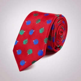 Christmas Theme Polyester Jacquard Ties, Universal 7.5cm Slim Narrow Skinny Necktie For Festival Party Shows Green