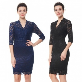 Europe And America Autumn Dress V-neck Lace Office Lady Solid Color Pencil Dresses For Women Black/s