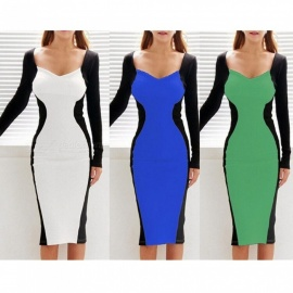 Autumn Sexy V Neck Long Sleeve Slim Tight Dress, Patchwork Knee-length Pencil Dress For Lady White/xxl