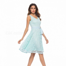Europe And America Summer Dress V-Neck Lace Bow Sleeveless Dresses For Women Blue/S
