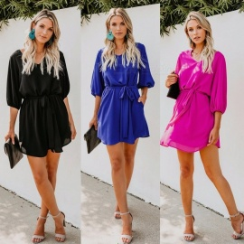 Europe And America Autumn Dress V-Neck Lantern Half Sleeve Solid Color Sashes Dresses For Women Black/S