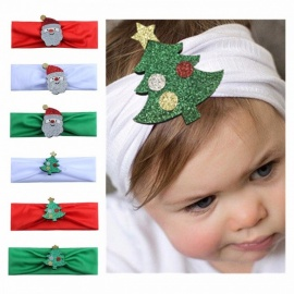 Christmas Holiday Carnival Creative Children Newborn Headband, Cartoon Stitching Flower Headwear, Baby's Hair Band White