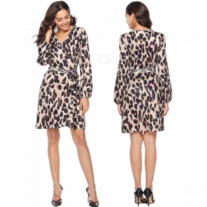 Europe And America Autumn Dress V-Neck Lantern Long Sleeve Leopard Print One-piece Sashes Dresses For Women Leopard/S