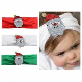 Christmas Holiday Carnival Creative Children Newborn Headband, Cartoon Santa Claus Headwear, Baby's Hair Band White