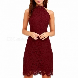 Europe And America Summer Dress Strapless Deep V Backless Halter Lace Straight Mini Dresses For Women Black/s