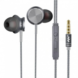 Q2 Metal Wired In-ear Earphone With Microphone, Universal Stereo HIFI DJ Sports Earbuds Headset Black