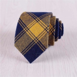 Fashion Cotton Jacquard Ties For Men, Narrow Check Pattern Print Necktie For Daily Wear Green