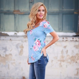 New Summer T Shirt Floral Print V-neck Cross Straps Slim Short Sleeve Shirts For Women Blue/s