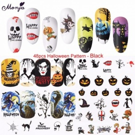 48 PCS Nail Art Stickers Halloween Christmas Water Transfer Nail DIY Decals Adhesive Transfer Tools Black