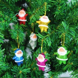 6Pcs/Lot Glitter Elderly Small Christmas Santa Claus Ornaments For Christmas Tree Decoration Gift Multicolor