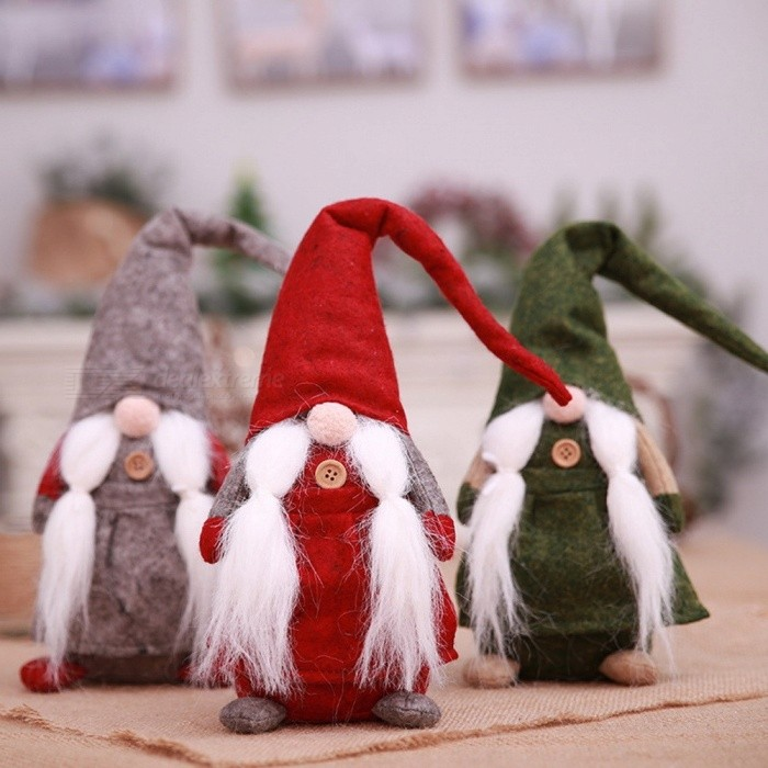 Xmas Faceless Doll Plush Toy, Christmas Home Decoration New Year Gift For Kids Christmas Ornament Red