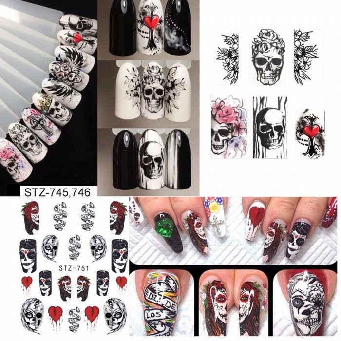 1 Set Halloween Theme Water Transfer Nail Art Stickers Devil DIY Decals Adhesive Transfer Tools STZ731-755