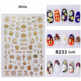 New Halloween Theme Nail Cs Adhesive Transfer Skull Nail Art Decals Tools White