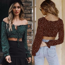 Autumn Europe And America Blouses Slash Neck Long Flare Sleeve Ruffles Dot Top Short Shirts For Women Black Green/s