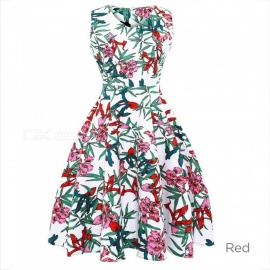 Fashion V-Neck Sleeveless High Waist Flower Printing Dress For Lady Women Blue/S