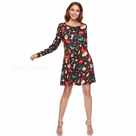 WQ048 Autumn Fashion Print Long Sleeve A-Line Dress With Pocket Design For Christmas Party Holiday Black/S