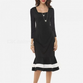 Europe And America Autumn Winter Dress Long Sleeve Mermaid Dresses For Women Black/XXL