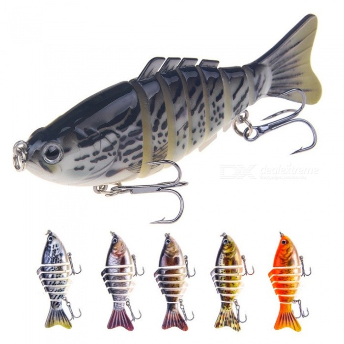16g 10cm Artificial Hard Minnow Crank Lures, 3D Eyes Multi-section Wobblers Spinning Fishing Bait Tool (Random Color) Random Color thumbnail