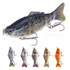 16g 10cm Artificial Hard Minnow Crank Lures, 3D Eyes Multi-section Wobblers Spinning Fishing Bait Tool (random Color) Random Color