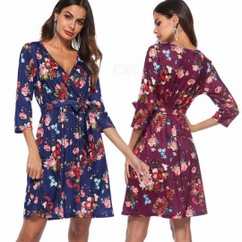 Europe And America New Autumn Dress V-Neck Floral Print Three Quarter Dresses With Sashes For Women Blue/S