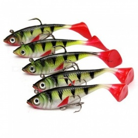 5pcs/lot Small Artificial Fishing Lures, 3D Simulation Soft Fishing Bait With Hook Green