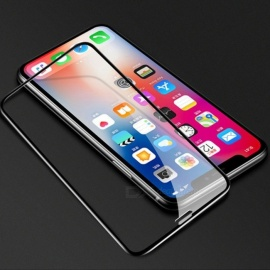 Full Coverage 6D Arc Edge Clear HD Tempered Glass Screen Protector Film For IPHONE XS, XS MAX, XR Black/IPHONE XR
