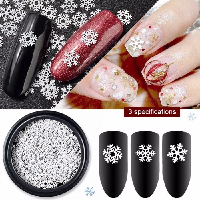 Special Nail Art Accessories White Snow Sequins Ultra Thin Christmas
