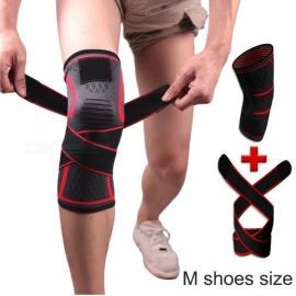 1 Pair Outdoor Knitted Compression Belts Knee Pad Brace Support For Running Sports Joint Pain Relief Protector Red