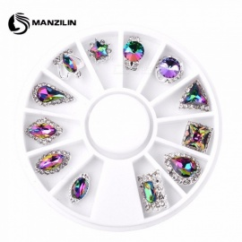 Nail Art Decoration Tools Turntable Jewelry Mix Shape Colorful Glass Drill AB Rhinestones Nail Accessories