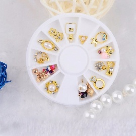 Metal Gold Nail Art Jewelry Decoration Tools Bow Pearl Rhinestones Round Turntable 12 Versions Gold