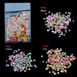 1000 PCS Mixed Design Nail Art Fruit Slice Feather Charm Beads Nail Decoration Tools White
