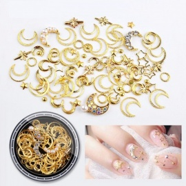 Mixed Shape Nail Resin Rhinestones Star Moon Copper Rivet Charm Beads Studs Nails Art Decorations White