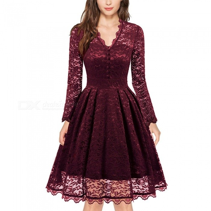 Europe And America New Dress Autumn Lace Solid Color V-Neck Pleated Long Sleeve Dresses For Women Burgundy/XXL - from $21.66