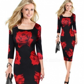 Europe And America Autumn Dress Red Rose Print Office Lady Three Quarter Sexy Pencil Dresses For Women Red/XXXL