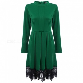 Autumn New Dress Fashion Europe And America Stand Collar Long Sleeve Lace Hemline Dresses For Women Green/XXL