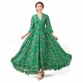 Spring Autumn Bohemian Dress New Three Quarter Flare Sleeve Floral Print Chiffon V-neck Maxi Dresses For Women Green/s
