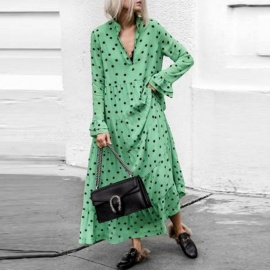 Autumn Maxi Dress Long Butterfly Sleeve Deep V Stand Collar Dot A-line Loose Dresses For Women Green/s