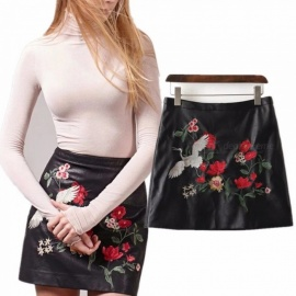 Europe And America New Skirts Embroidery Red-crowned Crane Print High Waist Leather Skirt For Women Black/xxl
