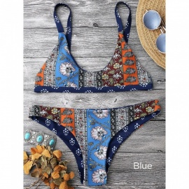 Swimwear Women Sexy Low Waist National Print Bikinis Swimsuit Beach Wear Bathing Suit Bikini Set Blue/s