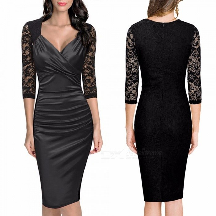 Europe And America Summer Dress V-Neck Sexy Lace Patchwork Slim Pencil Dresses For Women Navy Blue/XXL