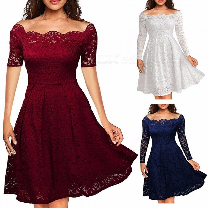 Europe And America Summer Dress Off Shoulder Lace Pleated Dresses For Women Burgundy/XXXL