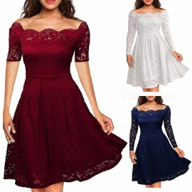 Europe And America Summer Dress Off Shoulder Lace Pleated Dresses For Women Ivory/S