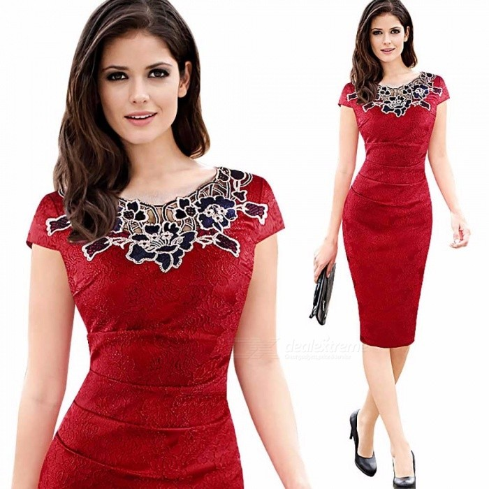 Europe Summer Pencil Dress Short Sleeve O-Neck Rose Lace Office Lady Dresses For Women Silver/S