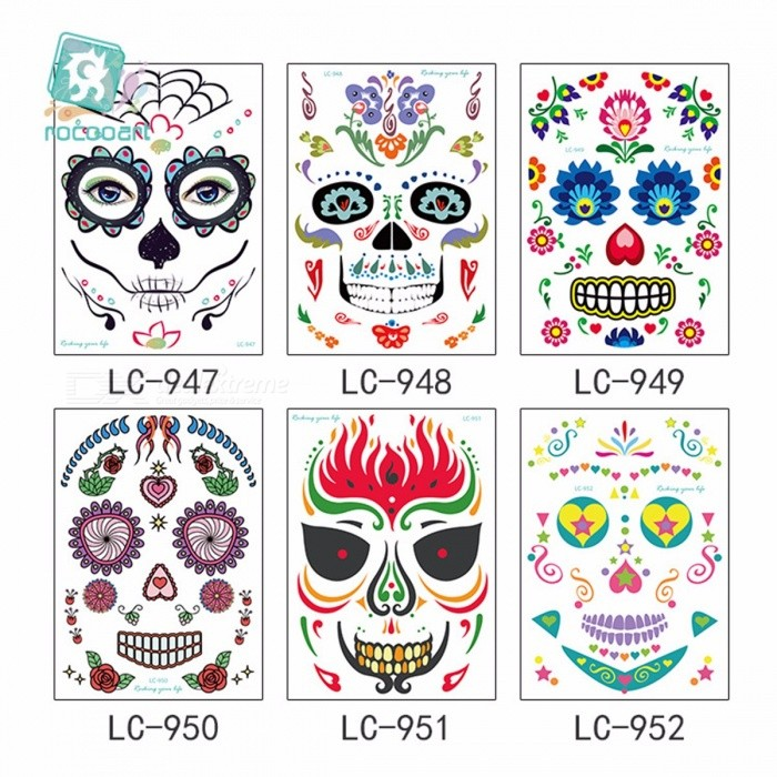 Dx coupon: Personalized Funny Waterproof Temporary Tattoo Face Sticker For Halloween Costume Party Masquerade Assorted