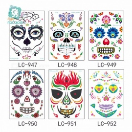 Personalized Funny Waterproof Temporary Tattoo Face Sticker For Halloween Costume Party Masquerade Assorted