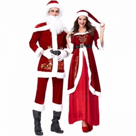 PS1961 Christmas Holiday Court Style Couple Cosplay Costumes Clothing Set For Women Red/M