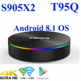 Android 8.1 TV BOX Amlogic S905X2 T95Q Smart Media Player 4GB 32GB DDR4 Quad Core 1000M 2.4G&5GHz Dual Wifi BT4.1 T95Q